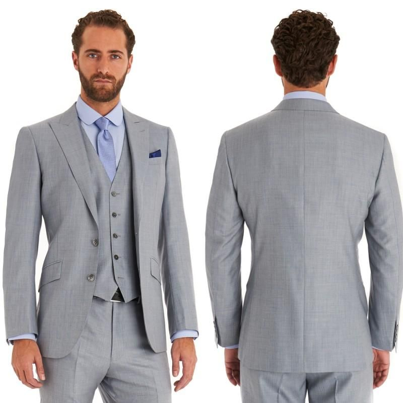 Click to Buy << Light Grey Mens Suits Two Buttons 3 Pieces Wedding ...