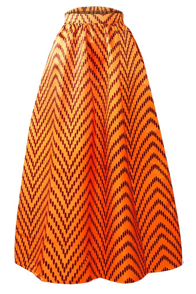 jupe longue taille haute wax africaine orange points polka zig zag pinterest pagne robe. Black Bedroom Furniture Sets. Home Design Ideas