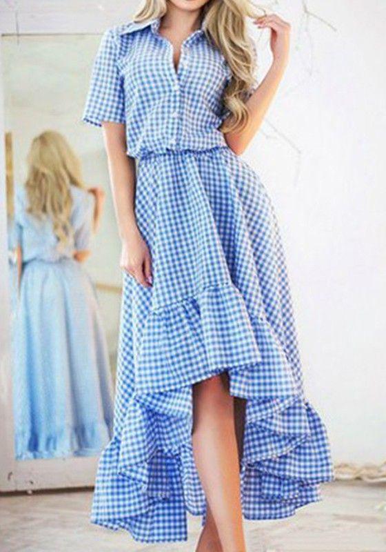 Blue Plaid Irregular Turndown Collar Short Sleeve Maxi Dress