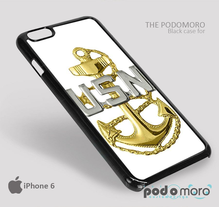 Navy Anchor for iPhone 4/4S, iPhone 5/5S, iPhone 5c, iPhone 6, iPhone 6 Plus, iPod 4, iPod 5, Samsung Galaxy S3, Galaxy S4, Galaxy S5, Galaxy S6, Samsung Galaxy Note 3, Galaxy Note 4, Phone Case