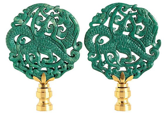 Sea Dragon Stone Lamp Finials Asian Carved Stone Finials In Teal On Shiny Brass Bases A Matching Stone Lamp Stone Carving Sea Dragon