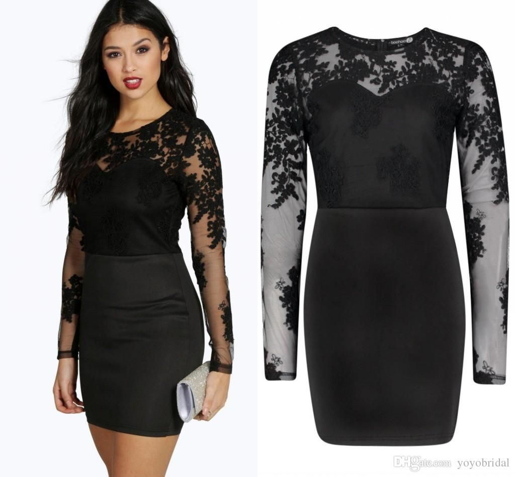 Sexy black illusion long sleeves cocktail dresses short cheap jewel
