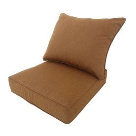 Allen Roth Sunbrella Canvas Teak Brown Deep Seat Patio Chair Cushion