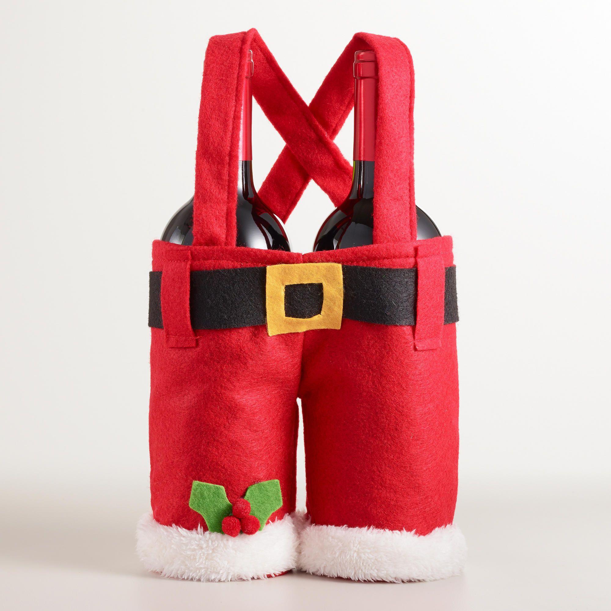 Santa Pants Double Wine Carrier Holiday Entertaining Christmas Christmas Fun Christmas Love