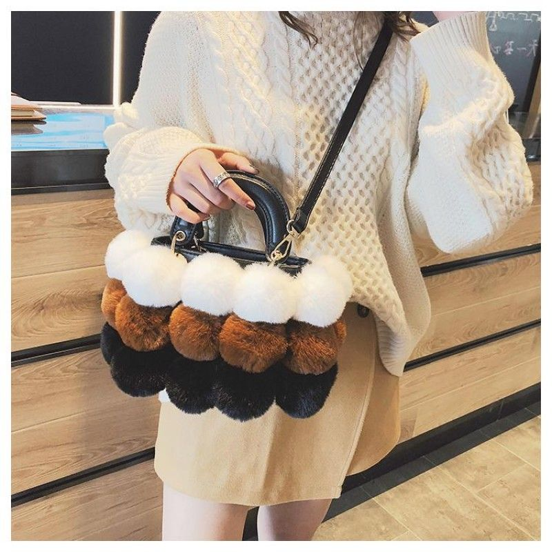 Brown and White Faux Fur Hand Purse Pompom Shoulder Handbags   fashionstyling  fashionstyler  fashionwoman  fashionperu  fashionstylist   fashionbloggers ... fd494081d4