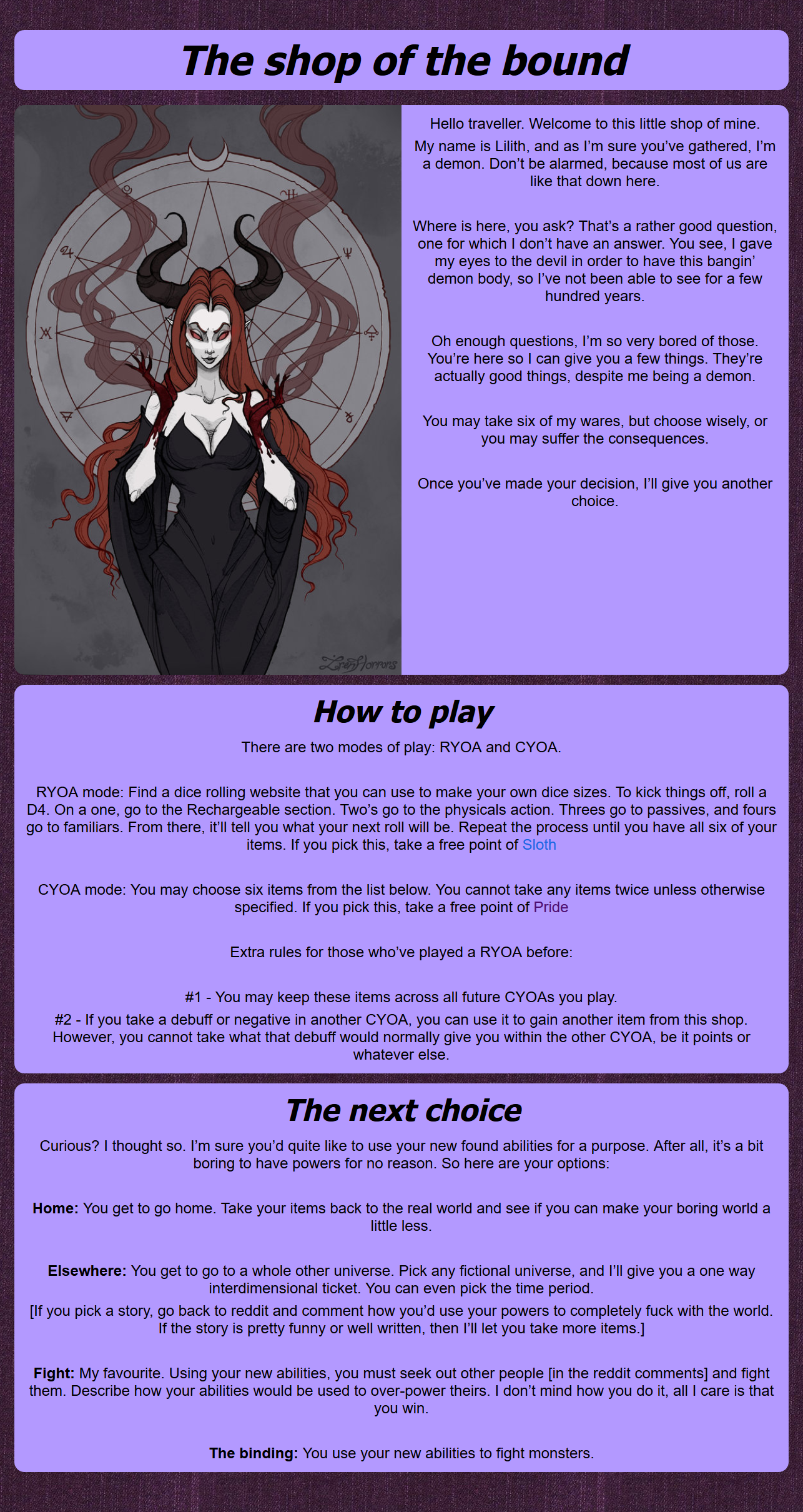 The shop of the bound, V2 - Imgur   acmo in 2019   Cyoa
