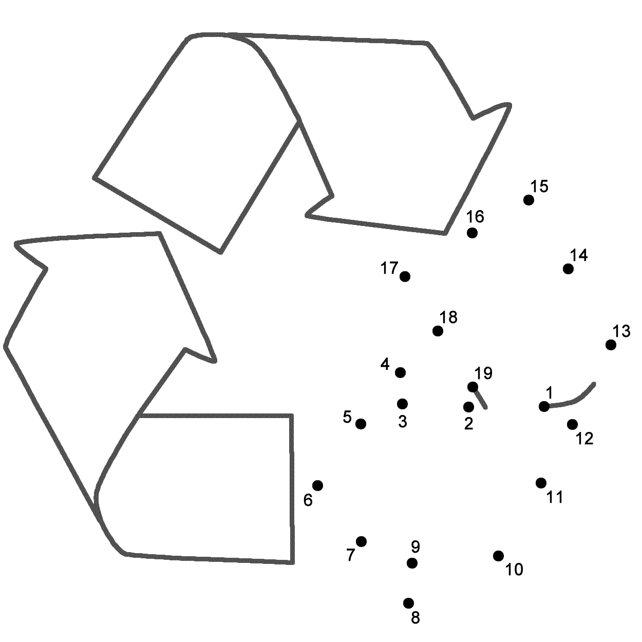 Colouring pages recycling - This Recycle Connect The Dots Page Features A Dot To Dot Puzzle For Earth Day This Activity Worksheet Helps Kids Practice Connecting The Dots