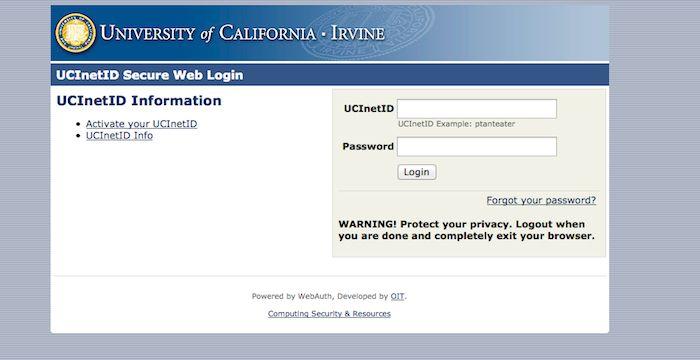 Uci Login University Of California Irvine University Of California Irvine