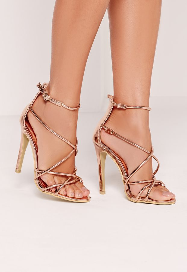 e3e760b8acb Strappy Barely There Heeled Sandals Rose Gold