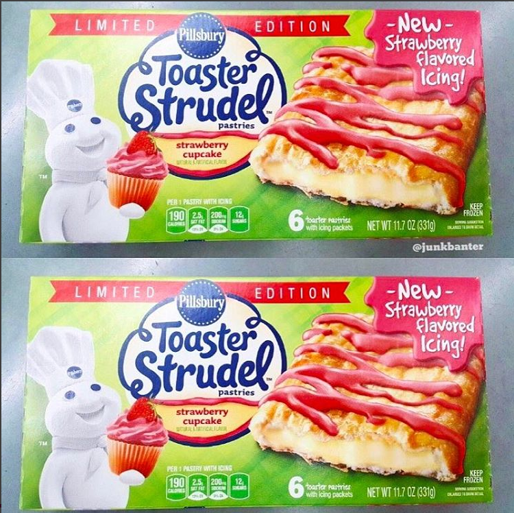 Pillsbury Toaster Strudel Strawberry Cupcake W Birthday Cake Cream