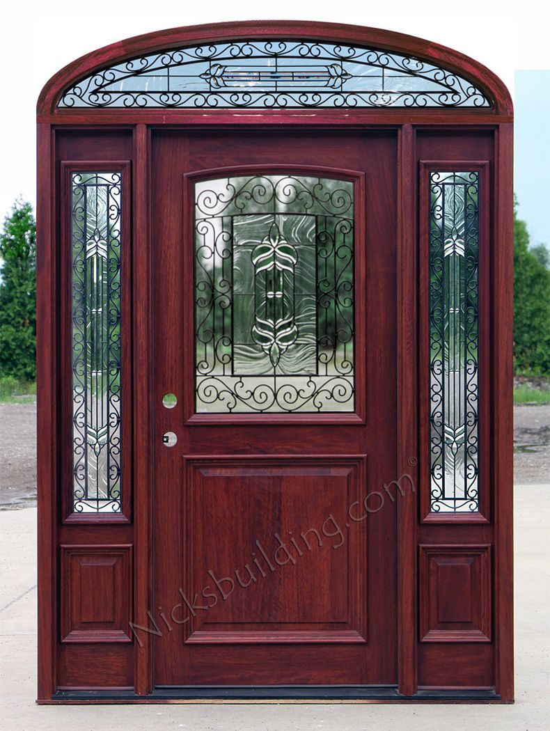 Mahogany-2-panel-exterior-doors-with-Eliiptical-Transom- & Mahogany-2-panel-exterior-doors-with-Eliiptical-Transom-Iron-Classic ...