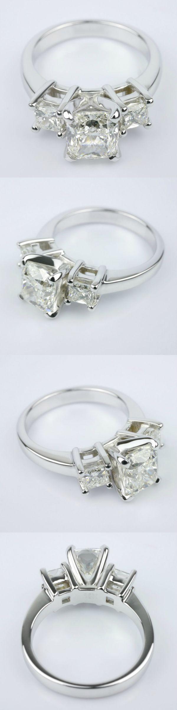 Cushion Diamond Ring With Two Princess Diamond Gem Cost 5 381