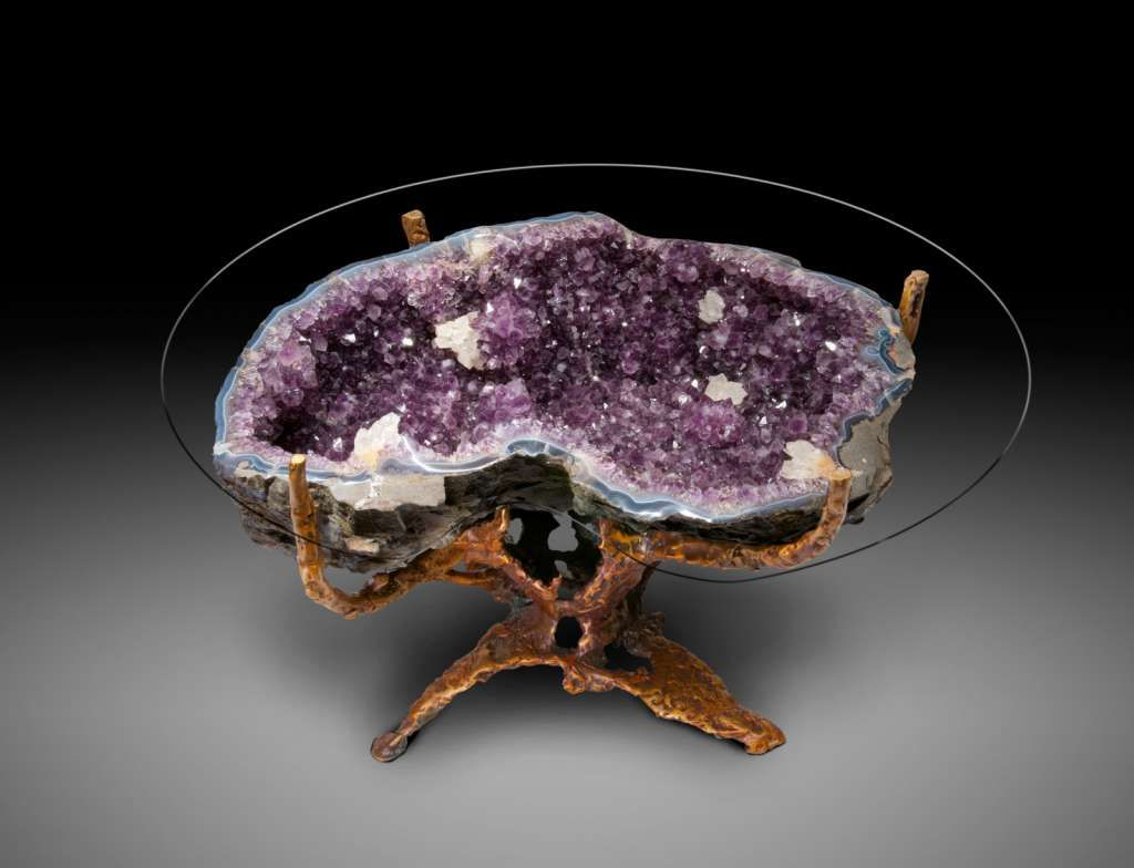 amethyst coffee table on cast bronze base | creative uses for