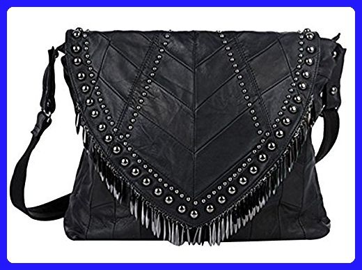 Womens Black Leather Skull Rivet Tassels Handbag Single-shoulder Bag Satchel