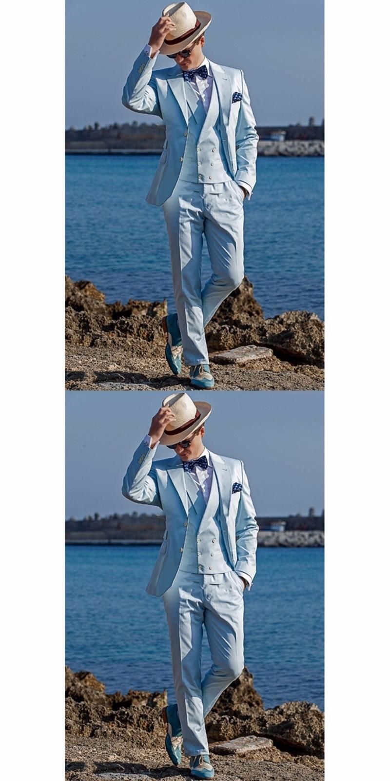 2017 New Arrival Groomsmen Notch Lapel Groom Tuxedos Baby Blue Men ...