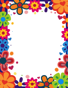 The bright colorful flowers give this printable nature border a