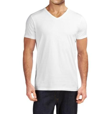 9136f299 V-Neck Basic Muscle Fitted Plain T-Shirt - White - Muscle Fit Basics - 4