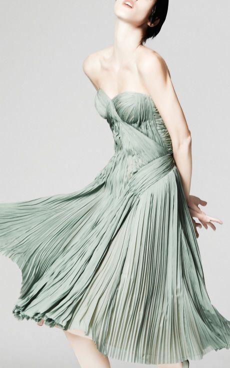 Zac Posen dress in greyed jade | The Merry Bride