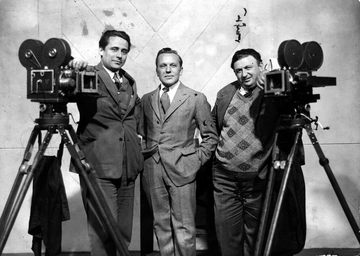 Camera operators Günther Rittau, Charles Rosher and Karl Freund, from left to right in 1927 (via Karl Freund)