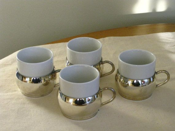 Set of Four Vintage Silver Plated Demitasse Cups with White Ceramic Inserts Leonard Silver plate & Set of Four Vintage Silver Plated Demitasse Cups with White ...