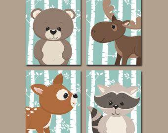 Tribal WOODLAND Nursery Wall Art Animal Artwork Birch by TRMdesign