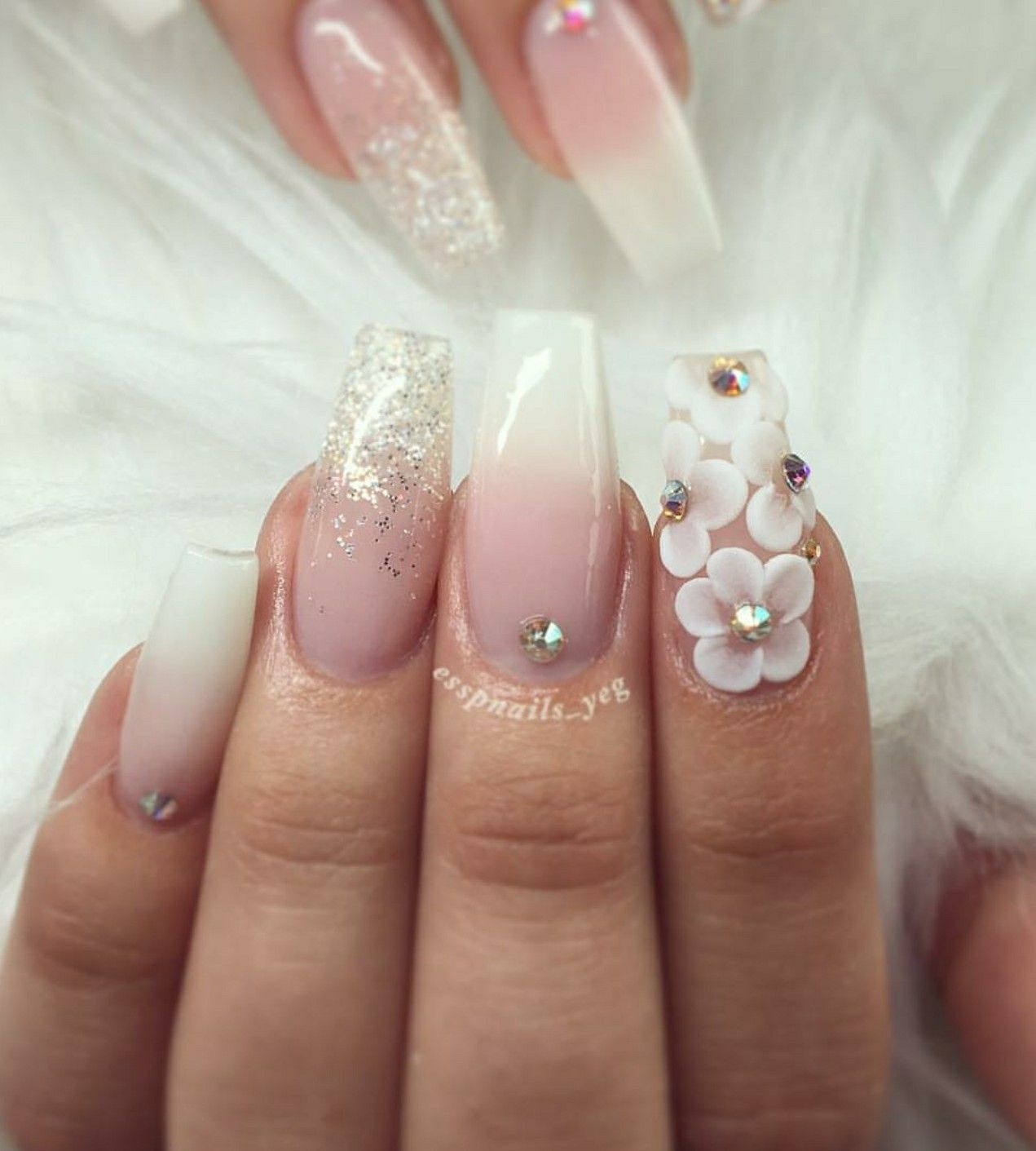 Tapered Square Nails Ombre Nails 3d Flowers 3d Nails Acrylic