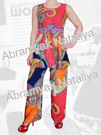 a11e31d3e10 47  Летний брючный костюм из штапеля для полных девушек Артикул 665 ...