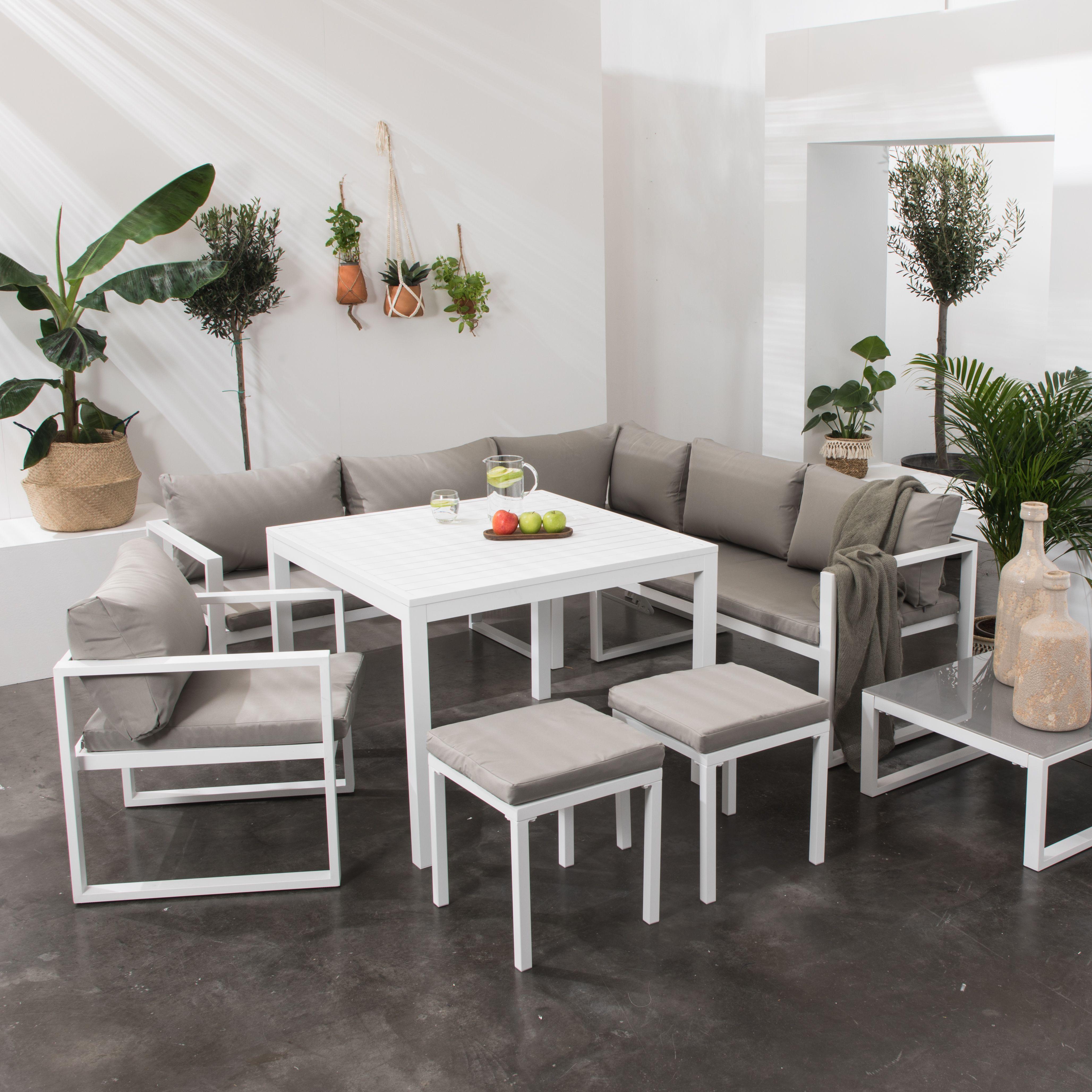 salons de jardin ibiza en tissus et aluminium 7 places salon de jardin meuble terrasse canape angle