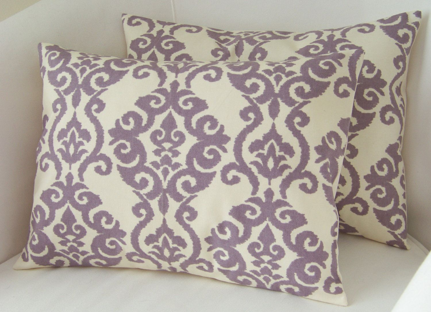 Lilac Purple Pillow Covers Set Of Two Lumbar Pillows