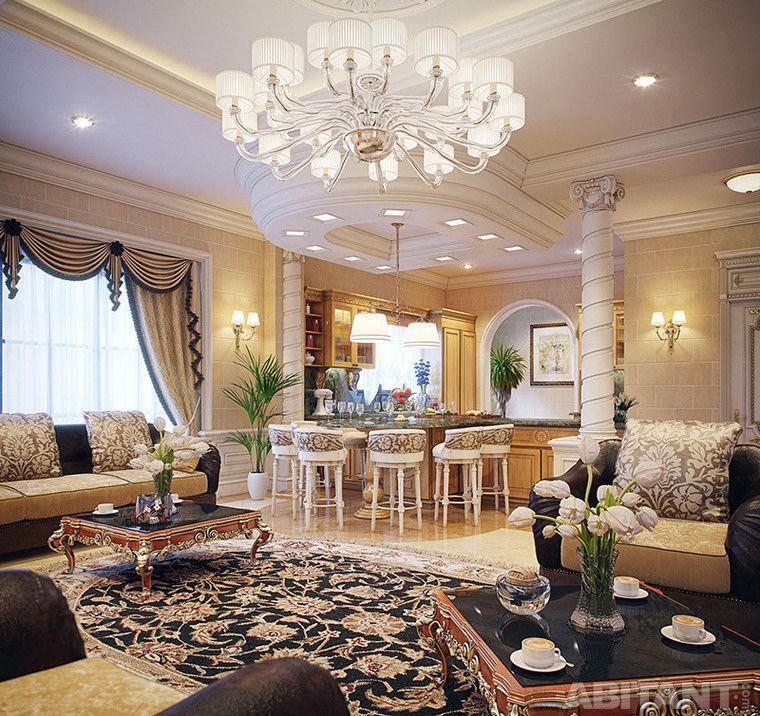 villa-klassa-lyuks-v-katare Гостиная с барной зоной Дизайн