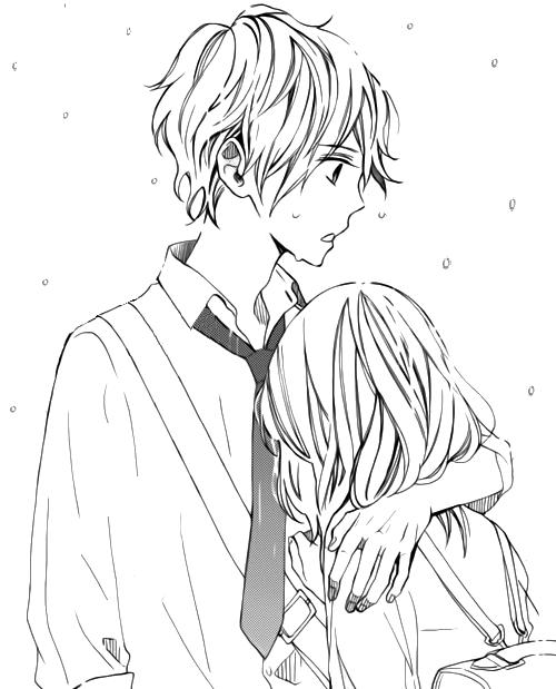 Fille Triste Collee Sur Le Torse D Un Garcon Anime Et Manga