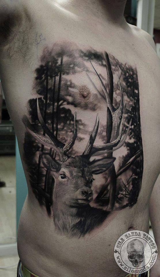 Sile Sanda At Rock N Roll Tattoo And Piercing Glasgow United Kingdom Deer Tattoo Stag Tattoo 3d Tattoos