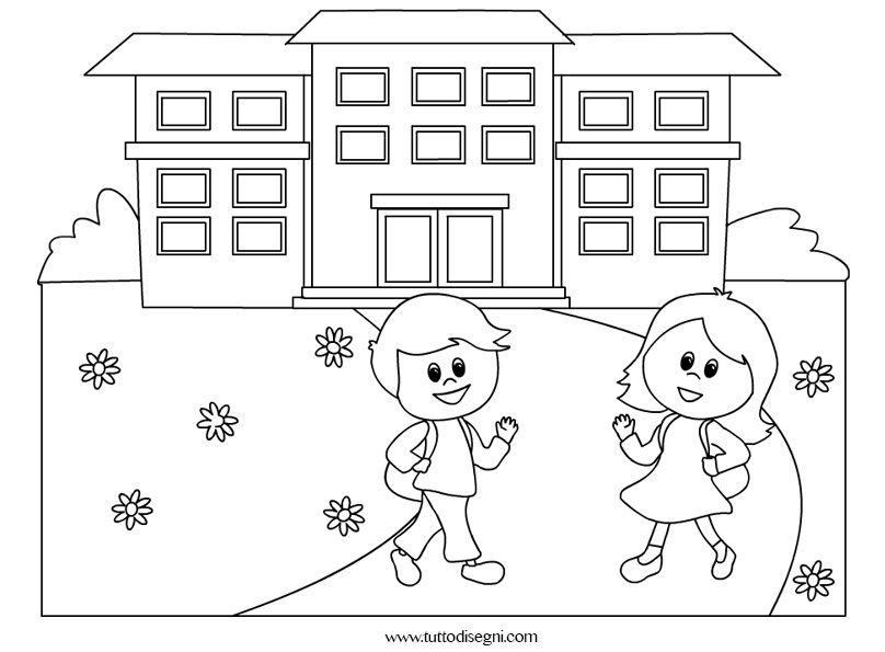 Disegno Di Scuola Da Colorare.Bambini Vanno A Scuola Da Colorare Disegni Da Colorare