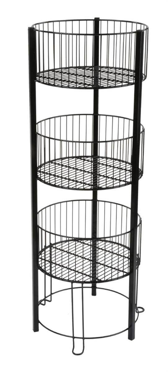 Displays2go 3 Tiered Wire Dump Bin for Floor 16-Inch Round Storage ...