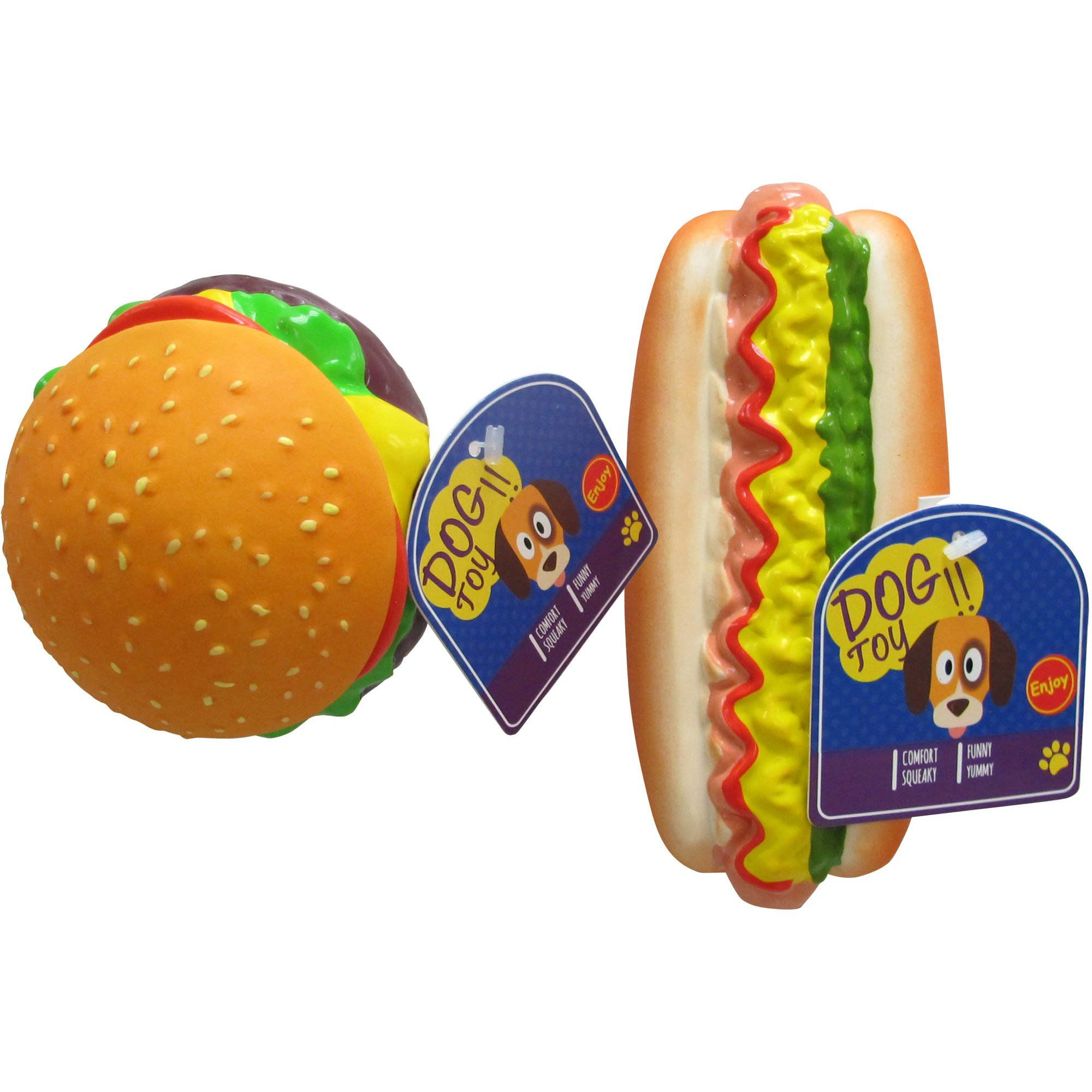 Squeaking Dog Toy Hamburger Or Hot Dog Assorted Click Image