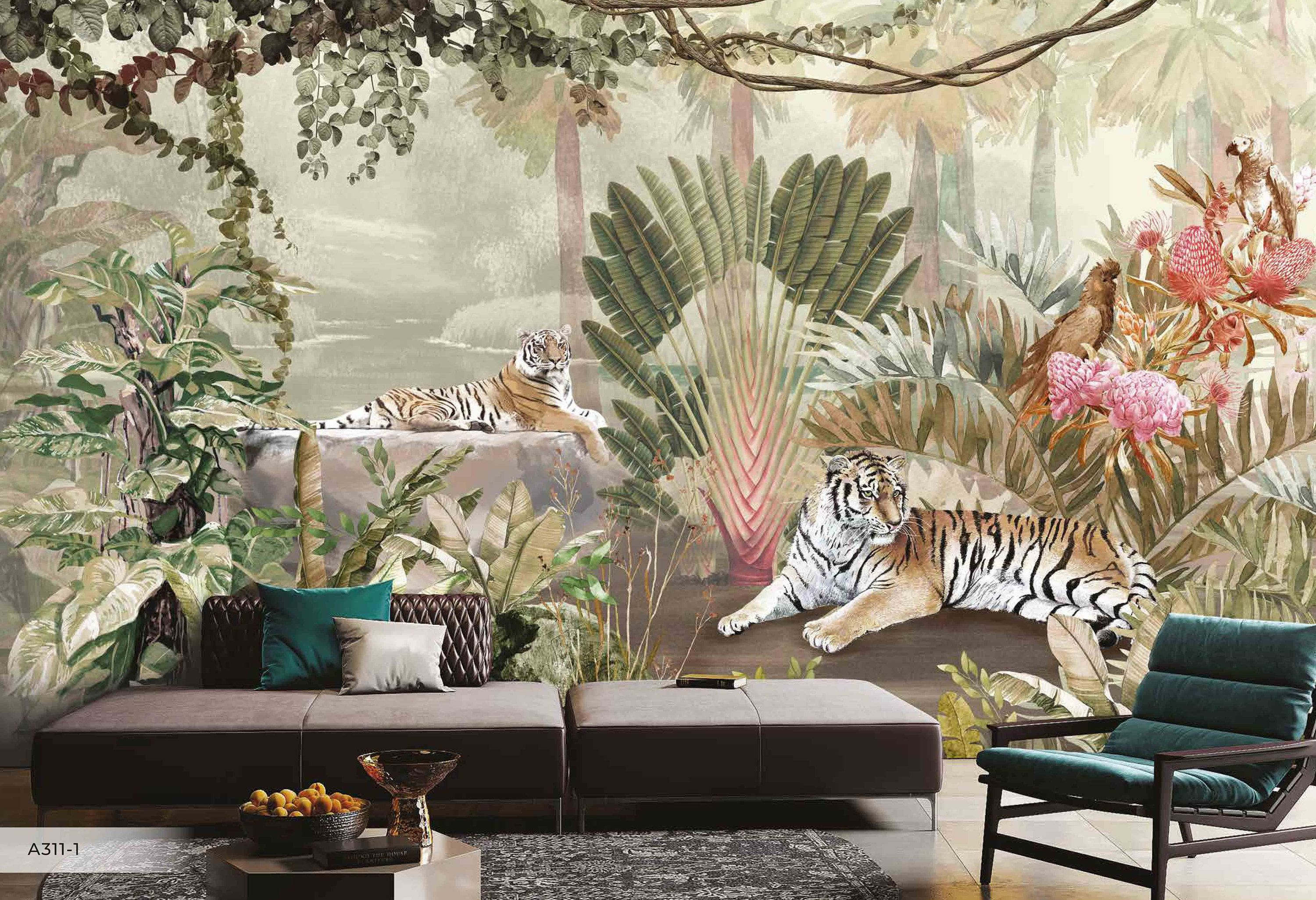 Tigers Parrots Tropical Plants Leaves Flowers Floral Wallpaper Etsy Blue Background Wallpapers Floral Wallpaper Bedroom Murals