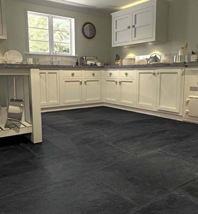 Large stone tile flooring stone flooring aged grey and for Black floor tiles for kitchen
