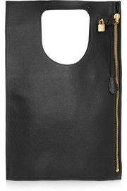 Alix medium textured-leather clutch