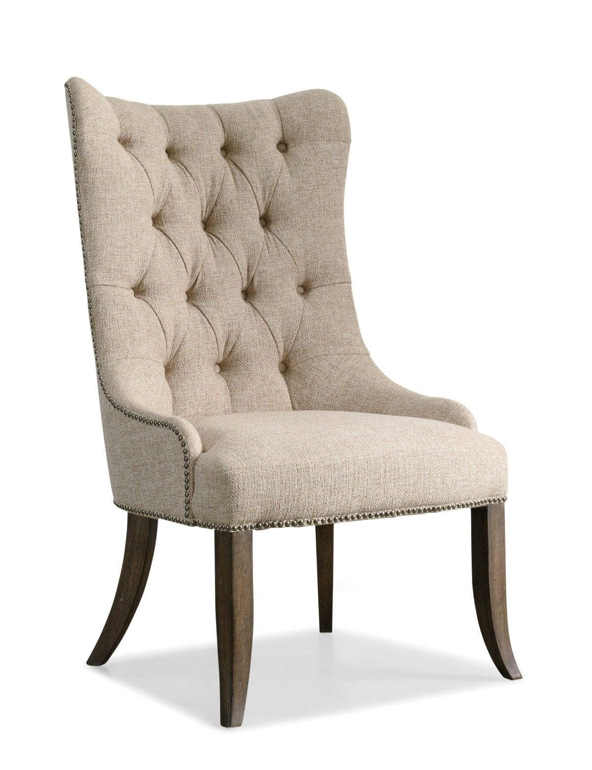 Entrancing Tufted Beige Upholstery Fabric Wingback Dining Chair