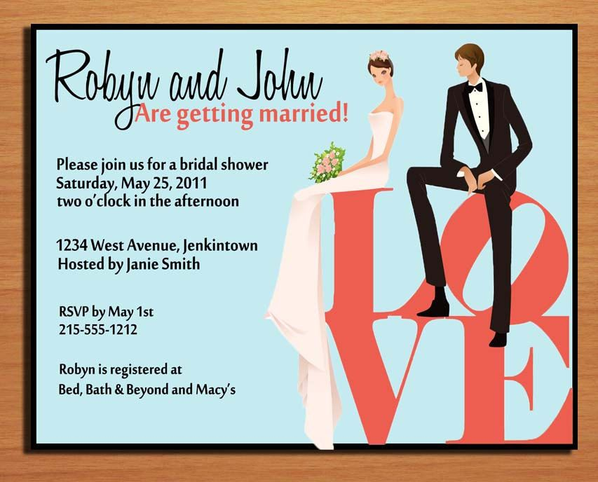 Customized Printable Wedding Couple On LOVE Statue Bridal Shower - Couples wedding shower invitations templates free