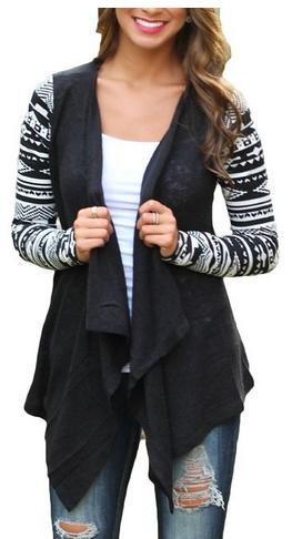 This cardigan is so fashionable! Women's Fashion Geometric Print Drape Front Knit Cardigan