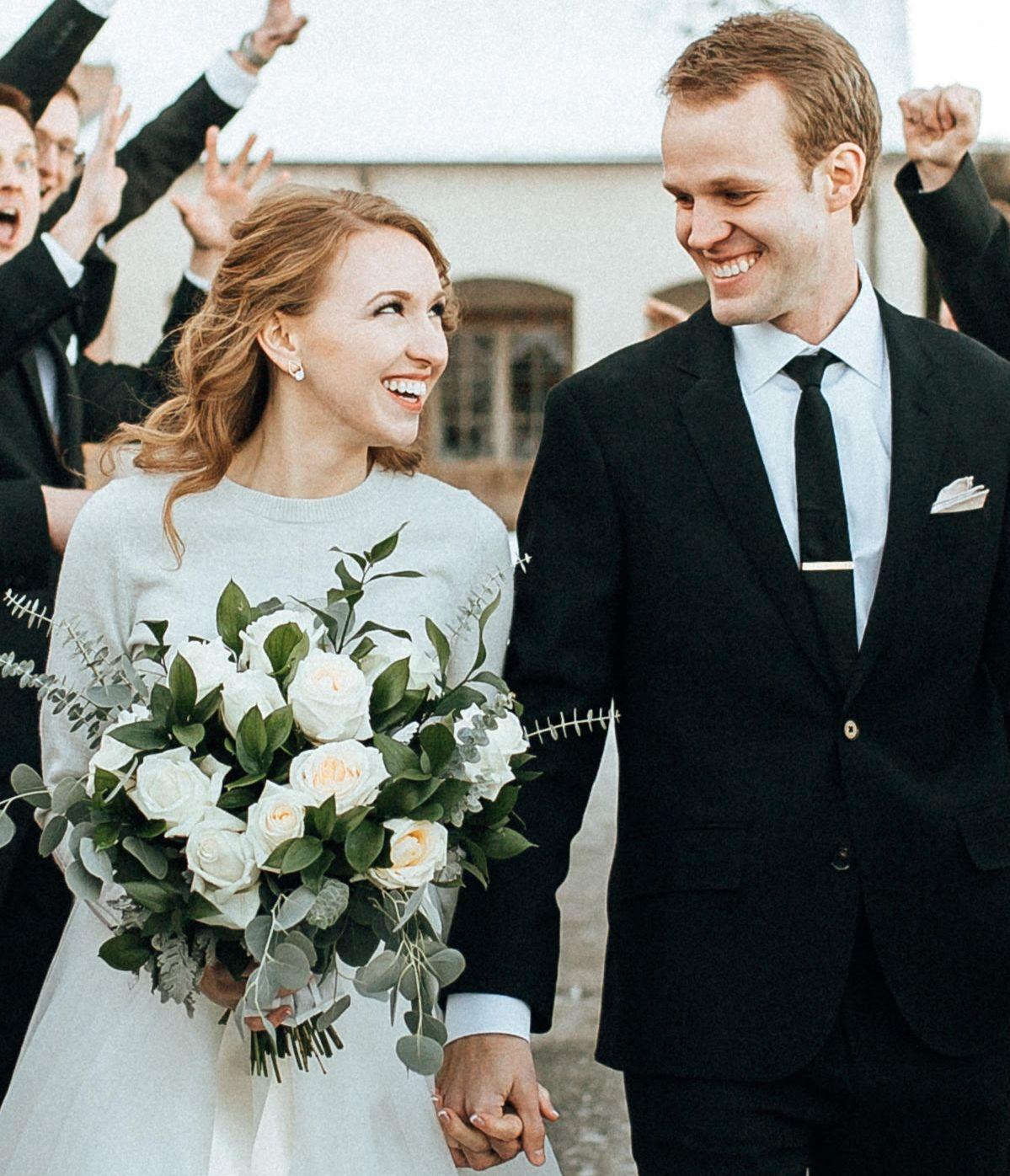 Brides bouquet, wedding flowers, white roses, baby blue eucalyptus ...
