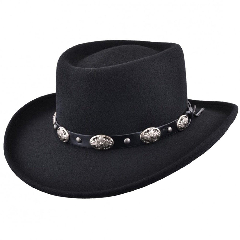 Mens Black Vintage 100% Wool Felt Crushable Gambler Cowboy Hat Curved Wide  Brim  2d4fdbe4afc9