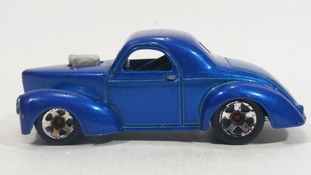 2009 Hot Wheels Custom 41 Willys Coupe Metalflake Blue Die Cast Toy Classic Car Vehicle
