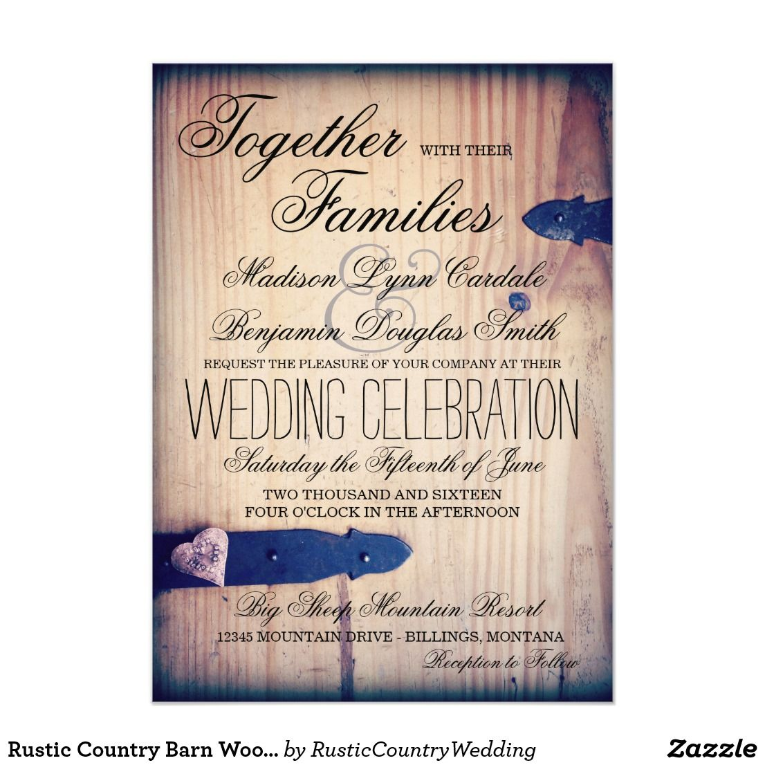 Rustic Country Barn Wood Latch Wedding Invitations ...