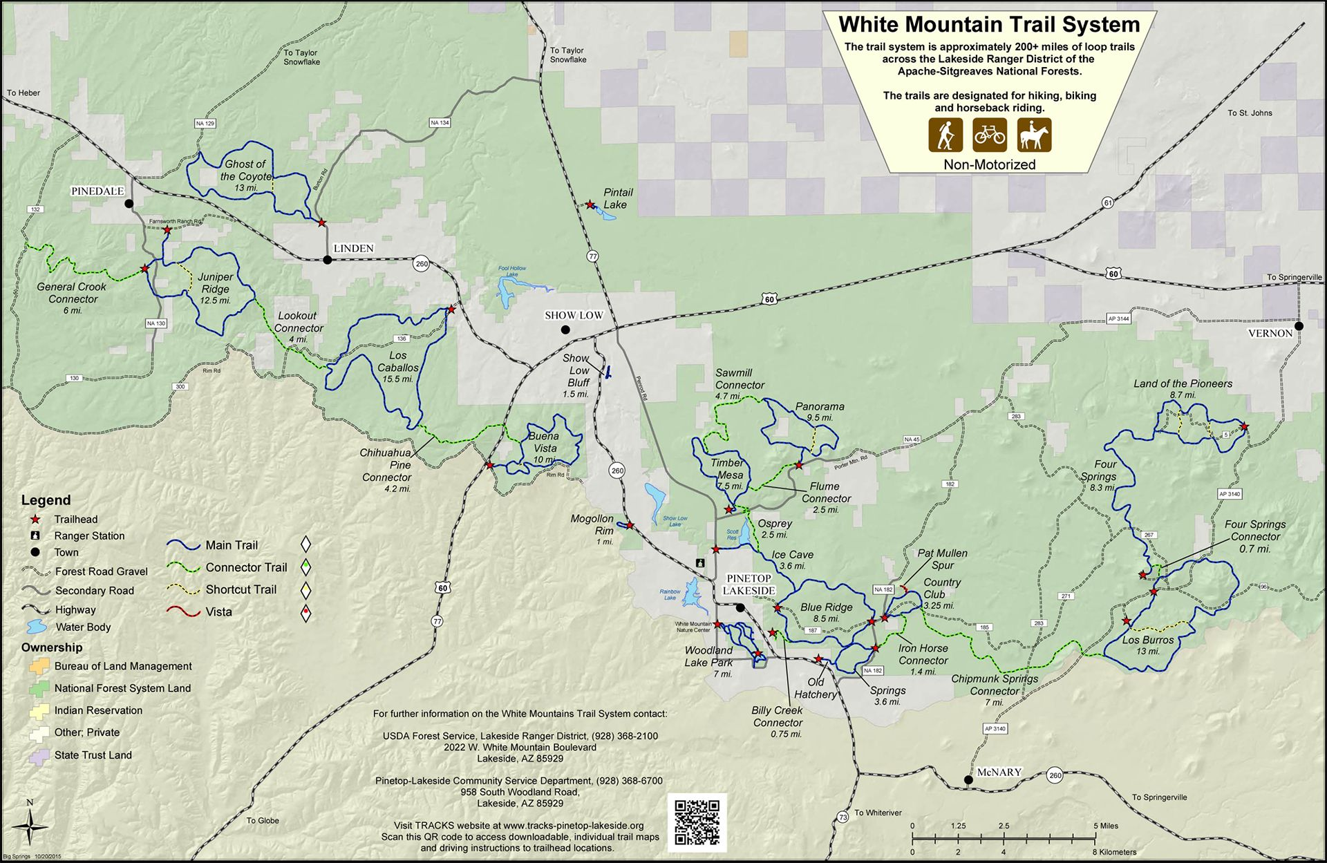 White Mountain Trail System map in 2019 | Mountain trails ...