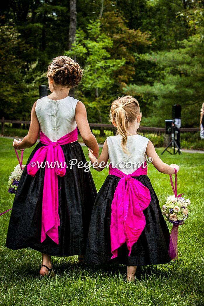 Boing Fuschia White And Black Flower Girl Dresses Black