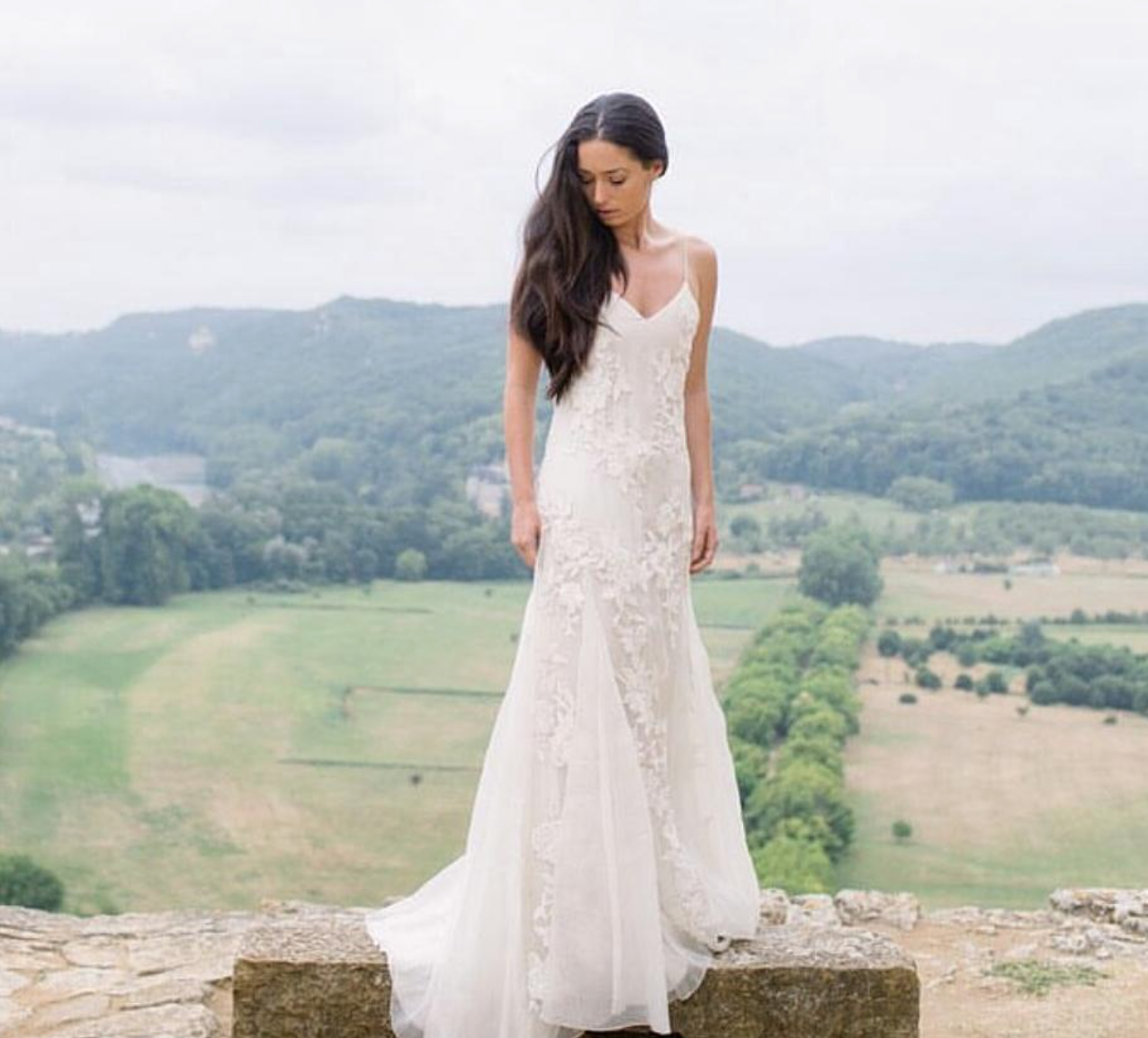 Houghton BEATRIX gown in silk organza with hand embroidered flowers ...