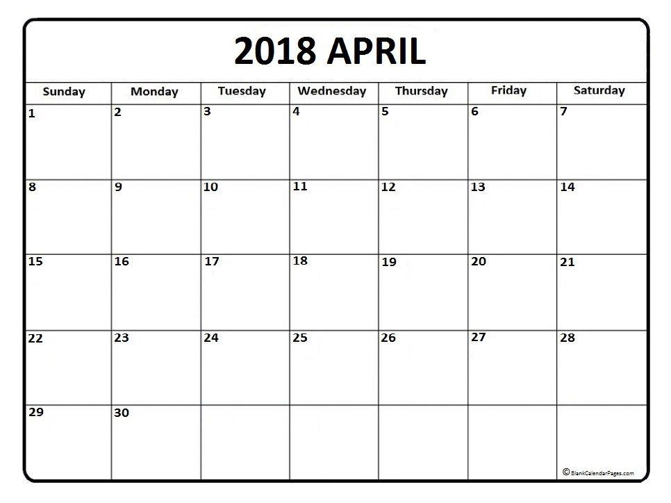 April calendar 2018 printable and free blank calendar Printable