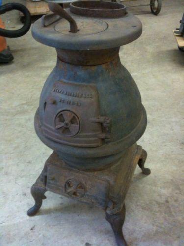 Antique Vintage Pot Belly Potbelly Parlor Stove Round Cast Iron